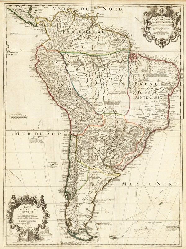 Old Map South America Brasil Venezuela Peru Argentina Chile - South america relief map peru