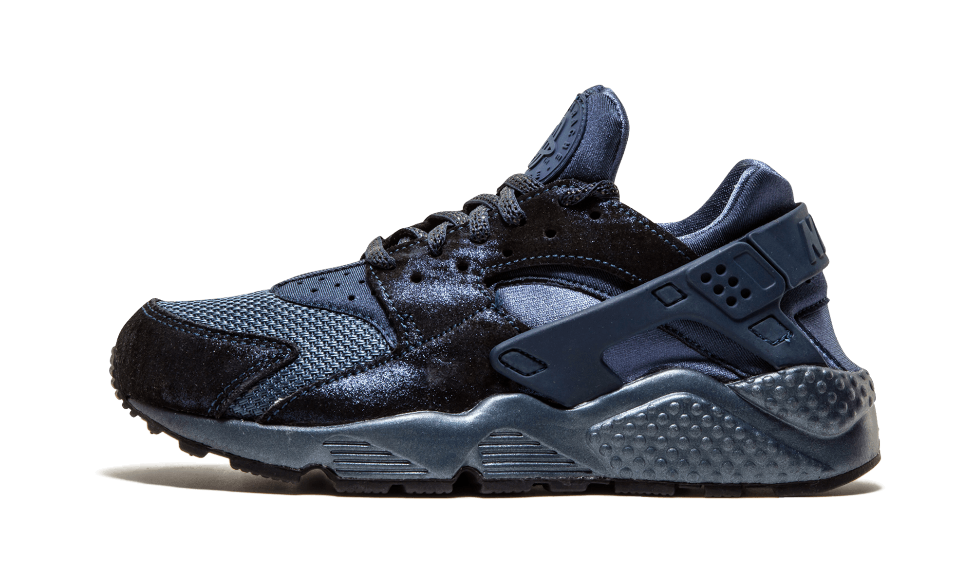 new style b3c38 012cb ... women s Nike Air Huarache features a bold yet elegant makeover in  metallic-treated suede drenched in a tonal navy colorway. WMNS Air Huarache  Run PRM ...