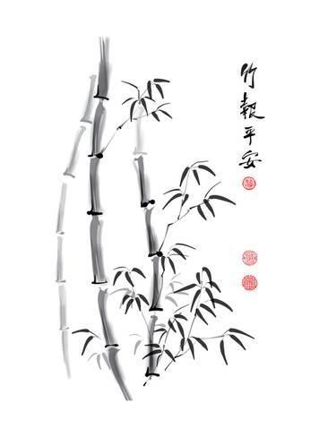 Art Print Bamboo Ink Painting And Calligraphy By Yienkeat