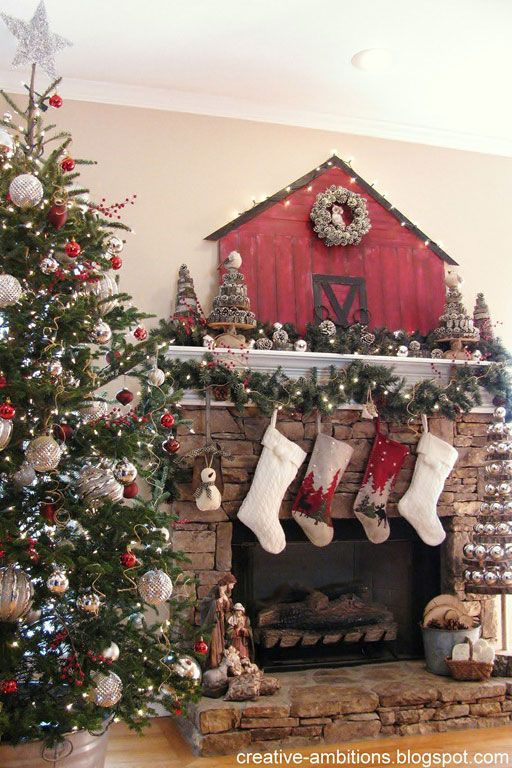 no matter where you live this oh so cute barn mantel display will add a touch of country charm to your home for the holidays - Country Christmas Decorations