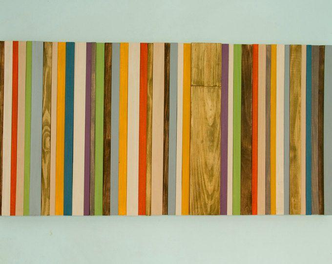 Wand Skulptur Wood Wall Art , Modern, Kopfteil , Reclaimed Möbel - orange wand wohnzimmer