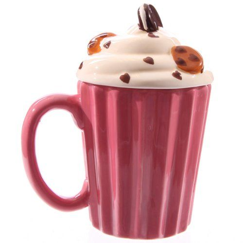 Cupcake Canisters For Kitchen: Cup Cake Ceramic Mug With Lid Puckator,http://www.amazon