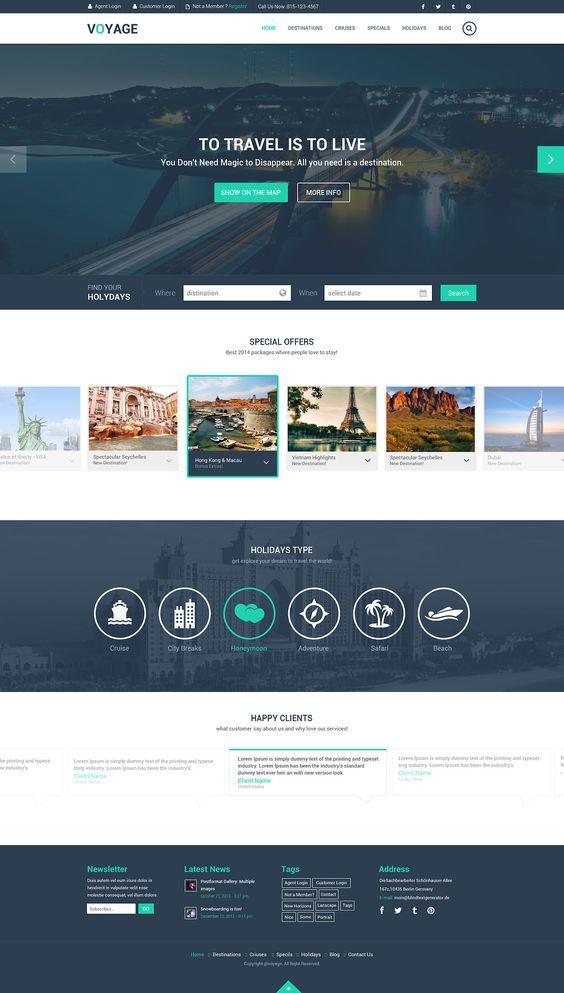 Free Travel Website Template PSD: … | Pinteres…