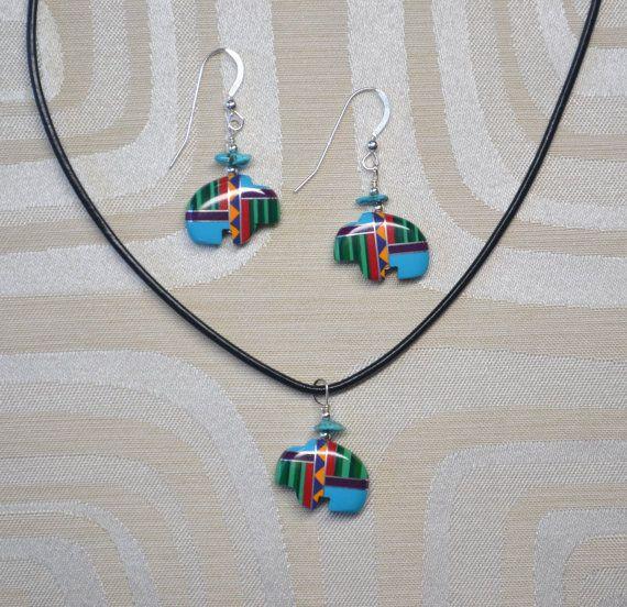Zuni Fetish-style Buffalo Earrings and by JewelrybyZhelaine
