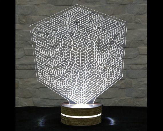 Cubic 3d Led Lamp Art Lamp Acrylic Lamp Art Of Light Home Decor Artistic Dawanda Home Living