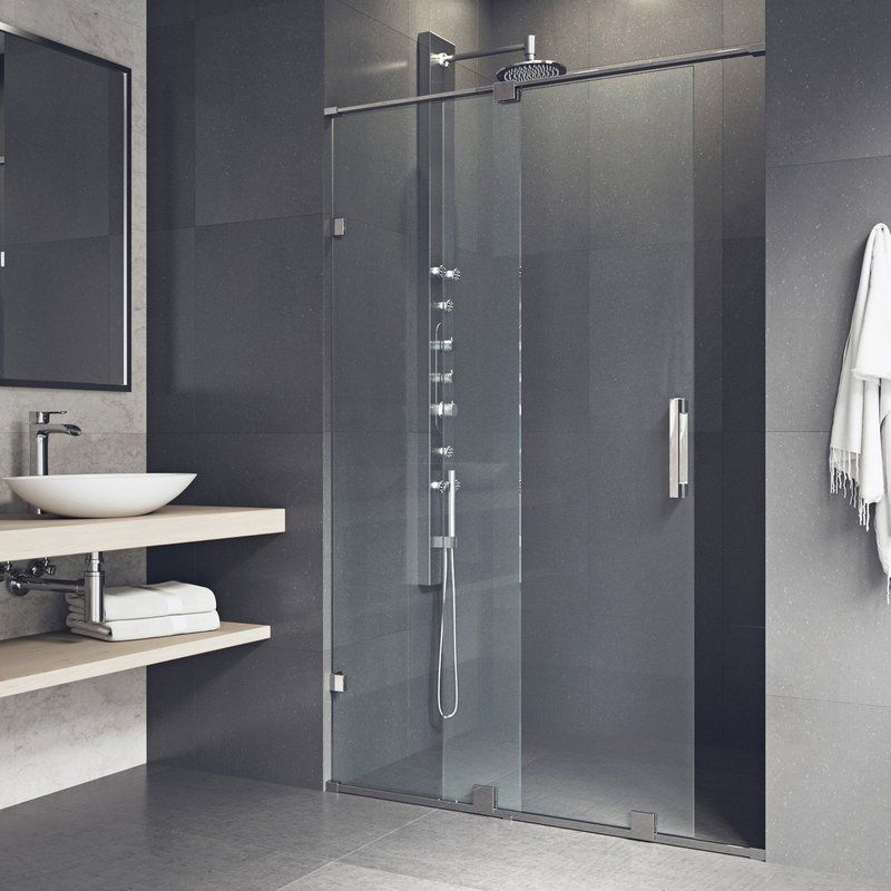 Ryland 48 W X 72 75 H Single Sliding Frameless Shower Doorwith