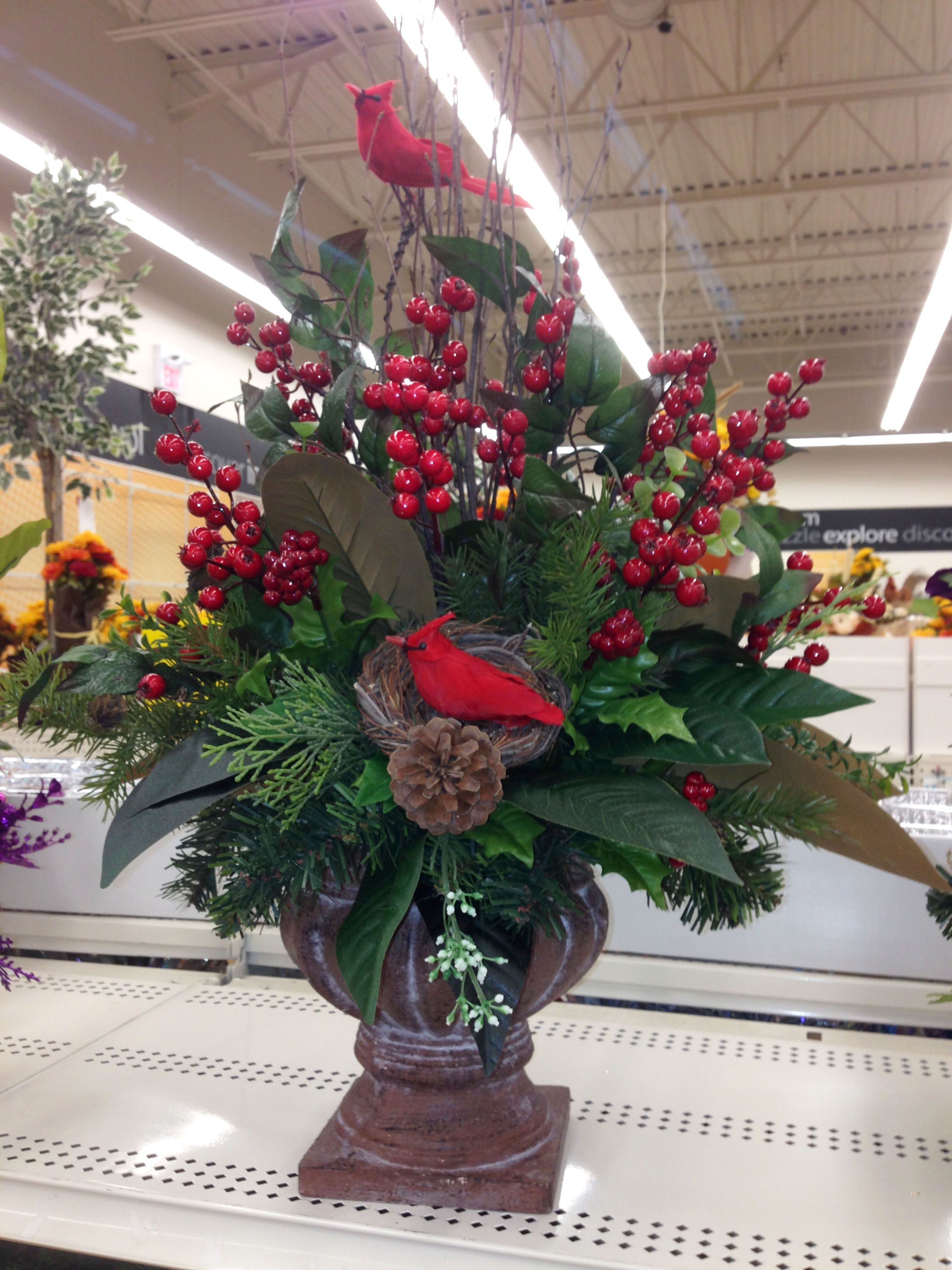 all natural Christmas centerpiece Christmas floral