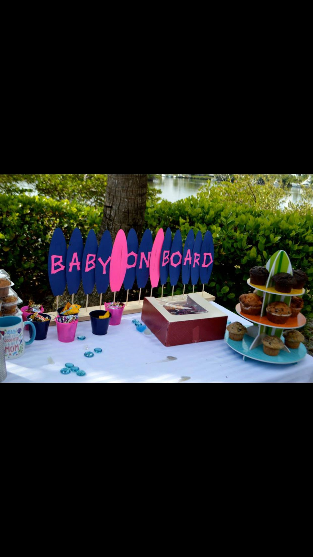 Baby on board gender reveal surf cricur life s a beach