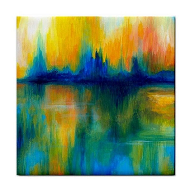 large ceramic tile coaster 6x6 abstract 14 green orange art paintinglarge ceramic tile coaster 6x6 abstract 14 green orange art painting by l dumas unbranded