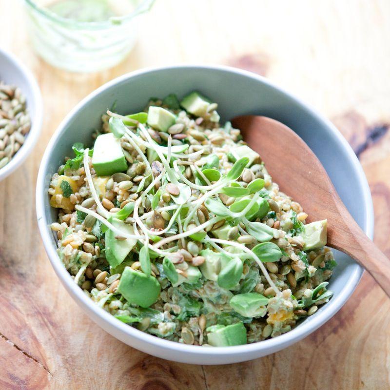 recipe spring grain salad with mango sprouts and creamy avocado dressing