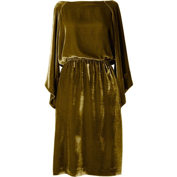 Ernst Reiko Olive Green 'Erika' Dress (22,360 DOP) ❤ liked on Polyvore featuring dresses, olive green, brown dress, olive dress, velvet dress, kimono sleeve dress and army green dress