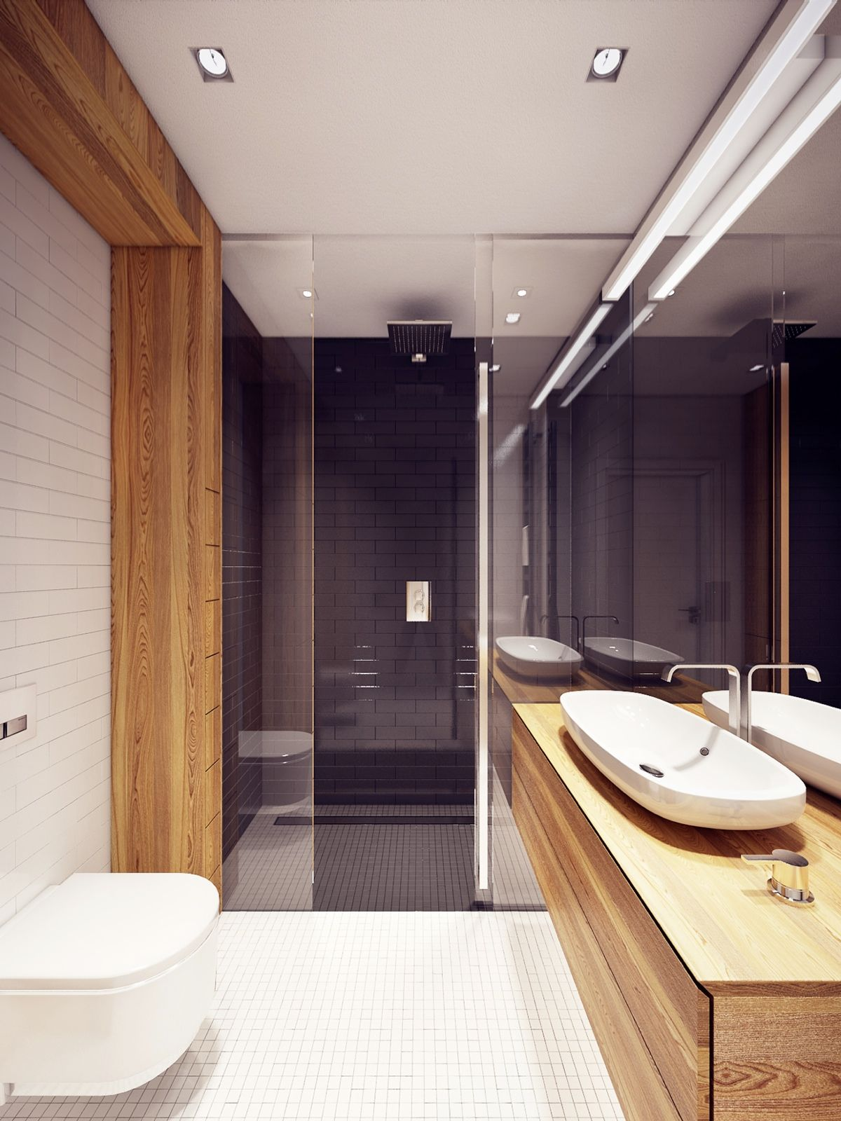 A Lively Contemporary Apartment Building Well Decorated and fortable The Bathroom White Mosaic Tile Toilet Floating Wooden White Sink Faucet Mirror