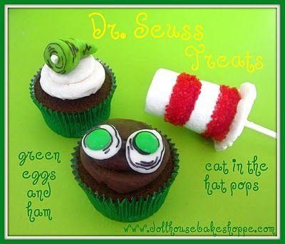 """Green Eggs and Ham"" cupcake toppers and ""Cat in the Hat"" marshmallow pops"