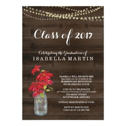 Rustic Christmas Graduation Party Invitation  Invitations