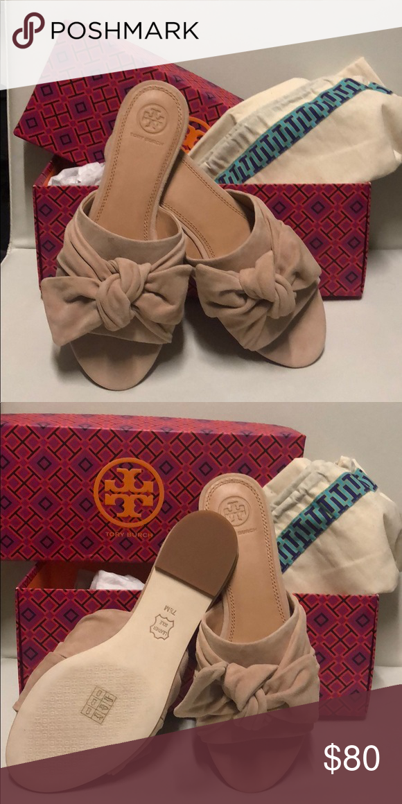 d86a609fe965e2 Tory Burch Annabelle Bow Slide NEW never worn! Tory Burch Annabelle Bow  Slide Kid Suede in Perfect Blush. Size 7.5 runs slightly small Tory Burch  Shoes ...