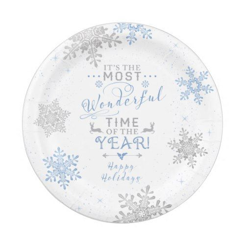 Snowflakes Christmas Xmas Most Wonderful Time Paper Plate  sc 1 st  Pinterest : snow white paper plates - pezcame.com