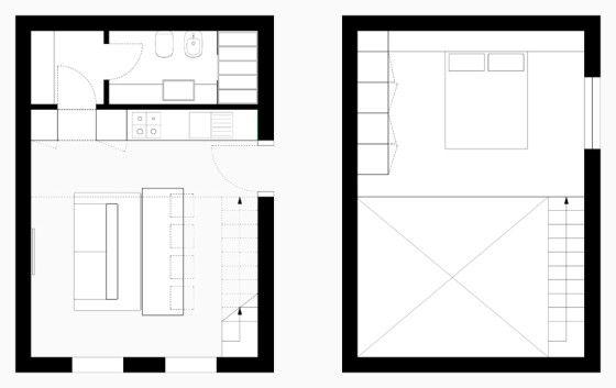 4 planos de apartamentos peque os con muebles dise ados for Planos de bares pequenos