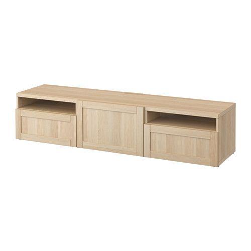 besta… tv bench hanviken white stained oak effect hanviken white
