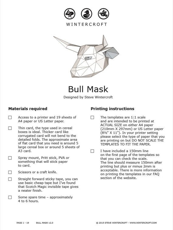 Build Your Own Bull Mask By Wintercroft On Etsy