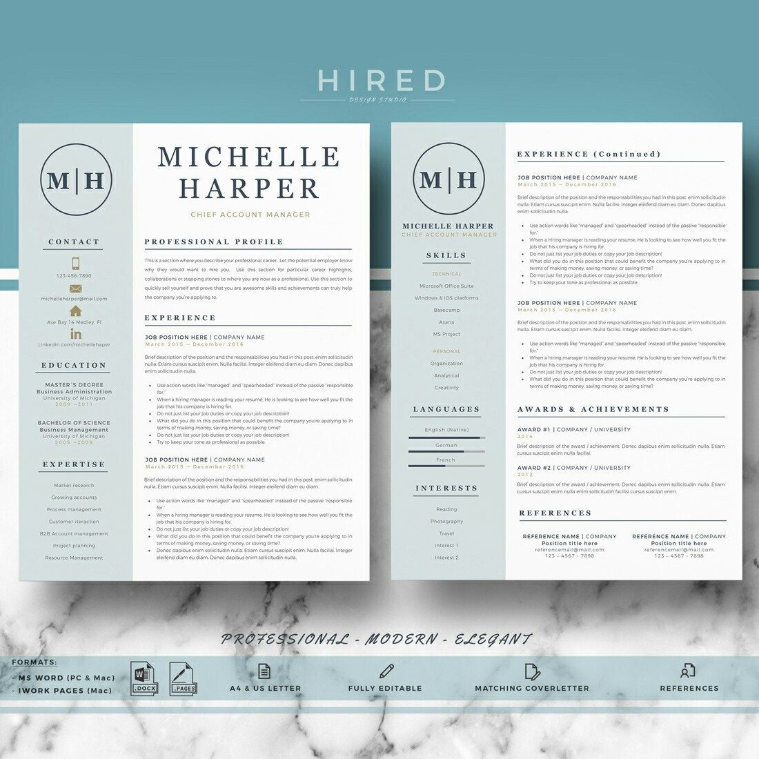 Professional Modern Resume Template For Word And Pages Resume