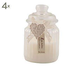 Set di 4 candele alla vaniglia con barattolo in vetro Rose ancienne - d 8/h 13 cm