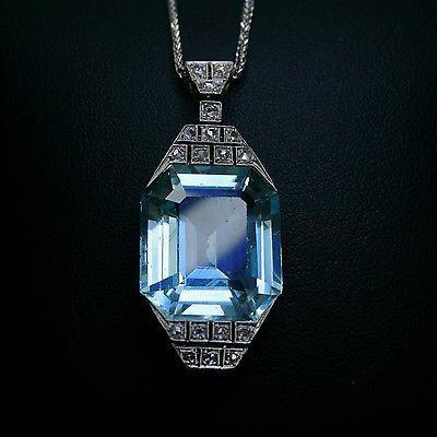 Vintage Art Deco Platinum 25 Carat Natural Aquamarine & Diamond  Pendant.