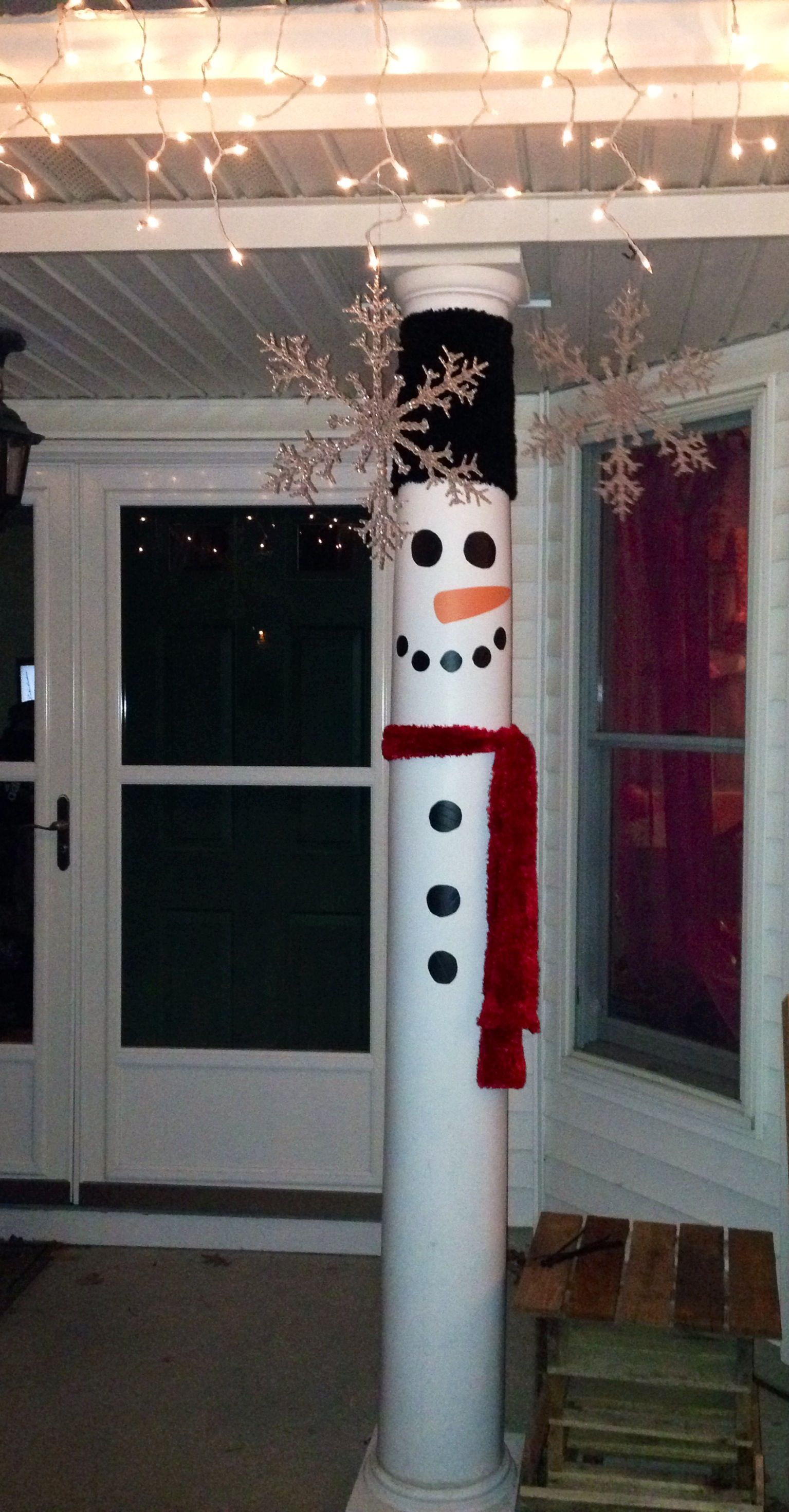 turn your front porch pillars in to snow men - Ideas For Front Porch Christmas Decorating