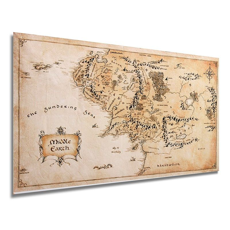 Overvalue Map of Middle Earth Silk Cloth Poster Living Room Home