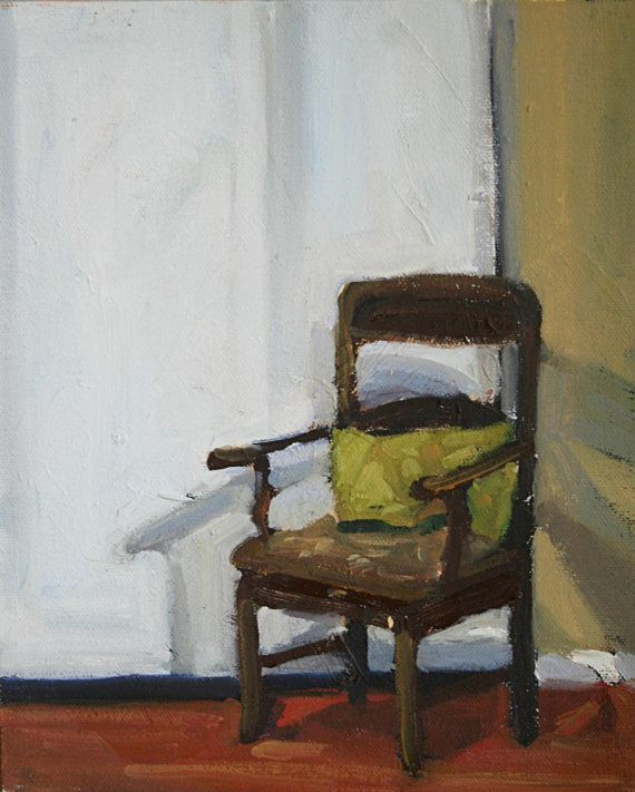 Unique Original Painting Oil on Canvas Chair with Green Pillow wood brown green white small original art still life interior room New Design - Fresh canvas chair Awesome