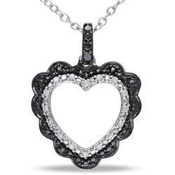 1/10 CT Black and White Diamond TW Black Rhodium Pendant Necklace - Ice.com