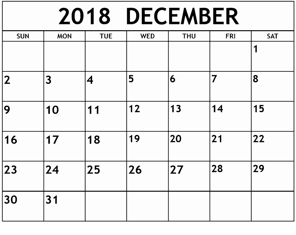 December Calendar 2018 By Month December Calendar 2018 Printable