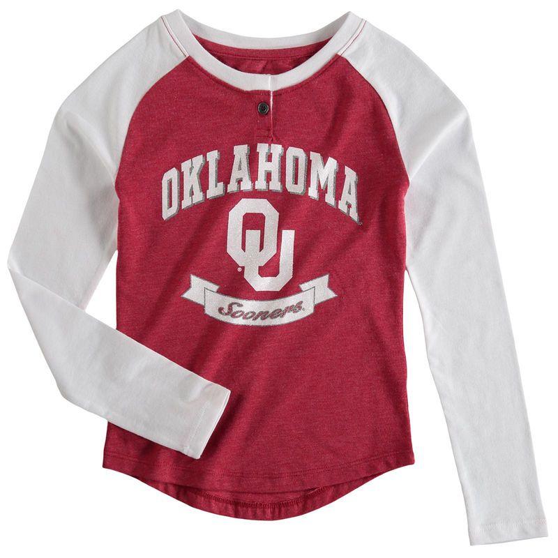 Red w// White Sooner Scho Youth Girls Long Sleeve Oklahoma Sooners OU Tee Shirt