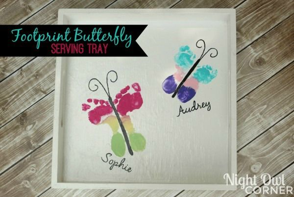 Put your child's footprints on a serving tray to make colorful footprint butterflies; perfect keepsake, and so easy to make!