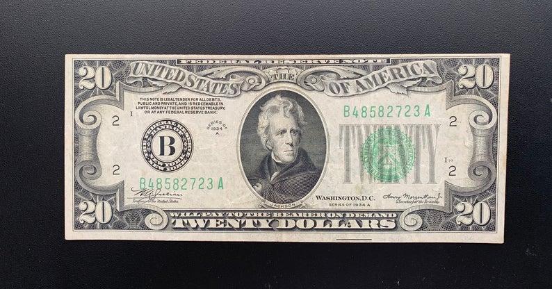 Series 1934 A Twenty Dollar Federal Reserve Note B 48582723 A Etsy In 2021 Federal Reserve Note Dollar Twenty Dollar Bill