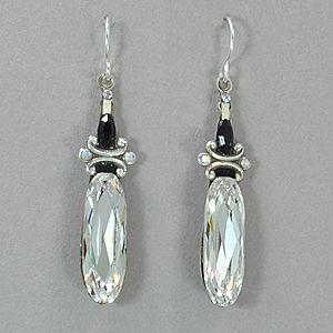 Firefly Large Crystal Drop Earrings Black White