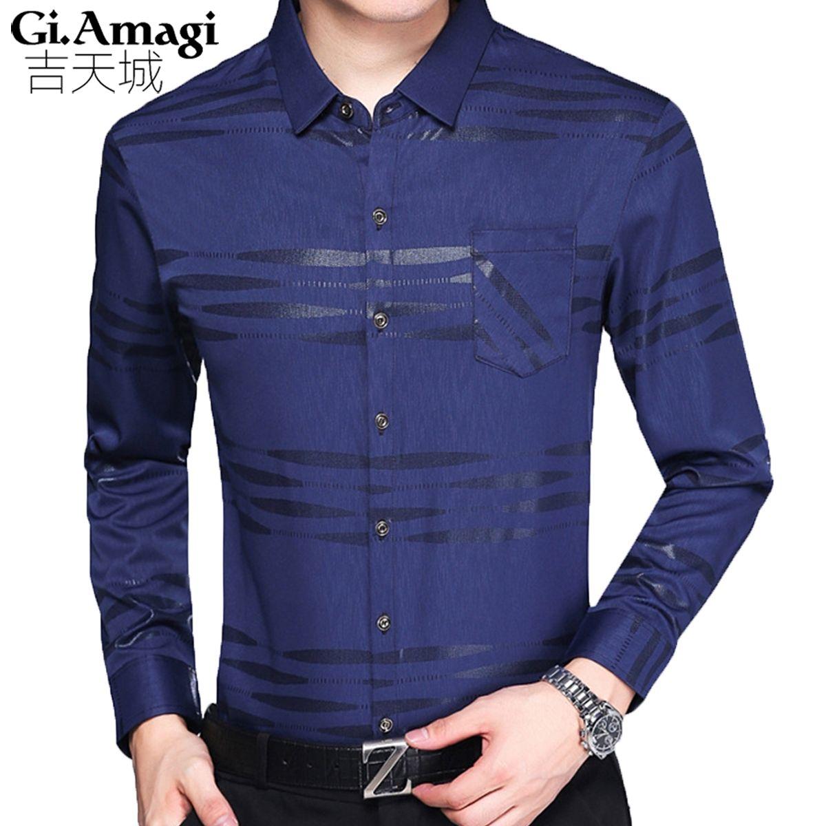 Roupas Masculinas New Autumn Plaid Shirt Casual Slim Printed Men s Shirt  Lapel Cotton Mens Shirt Men aee48ac99a