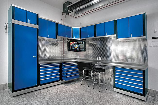Bleu Kit Armoire Rangement Garage Rangement Garage Amenagement Garage