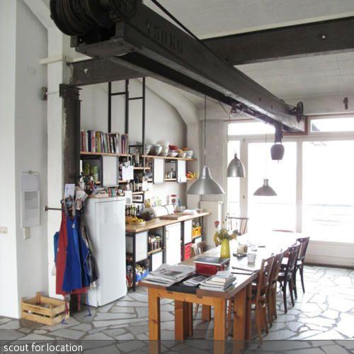 stahltr ger mit flaschenzug funktion im essbereich wohnen im industrie stil pinterest. Black Bedroom Furniture Sets. Home Design Ideas