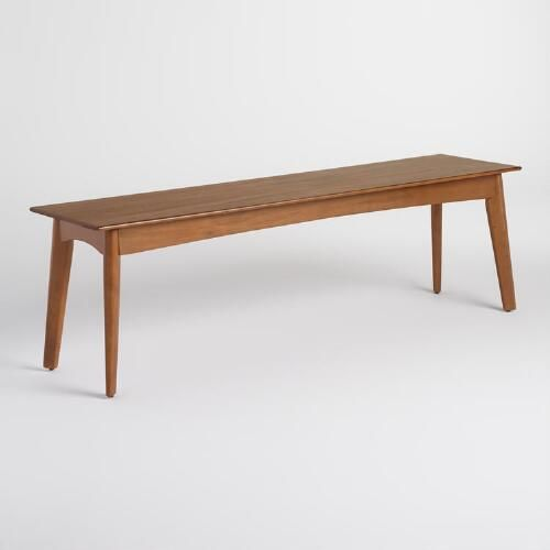 Characterized By Mid Century Design Details Like A Beveled Edge Clean Lines And Tapered Blade Sh Wood Dining Bench Mid Century Dining Mid Century Dining Bench