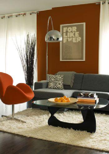 Associer les couleurs en d coration salon tendance couleur salon et canap - Tapis gris et orange ...