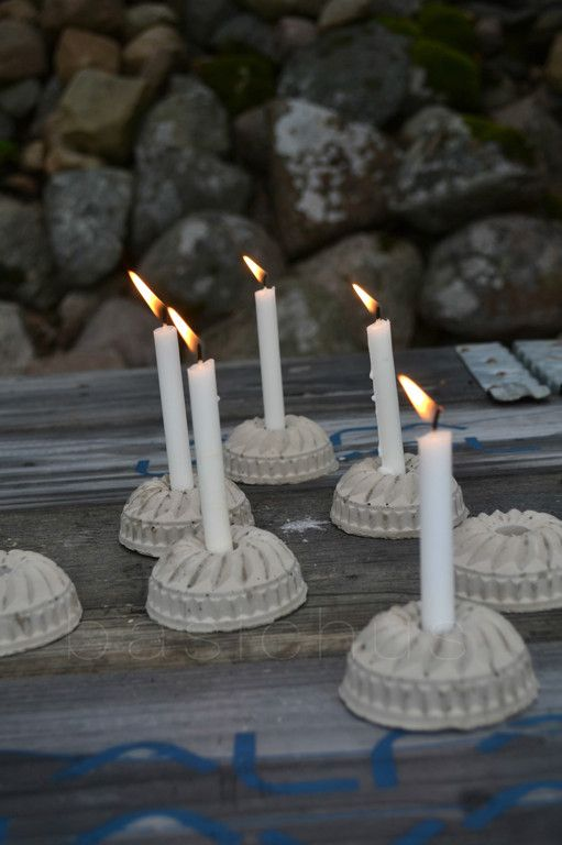 Candle sconces made from little bundt tins - could do it with all kinds of decorative cake tins