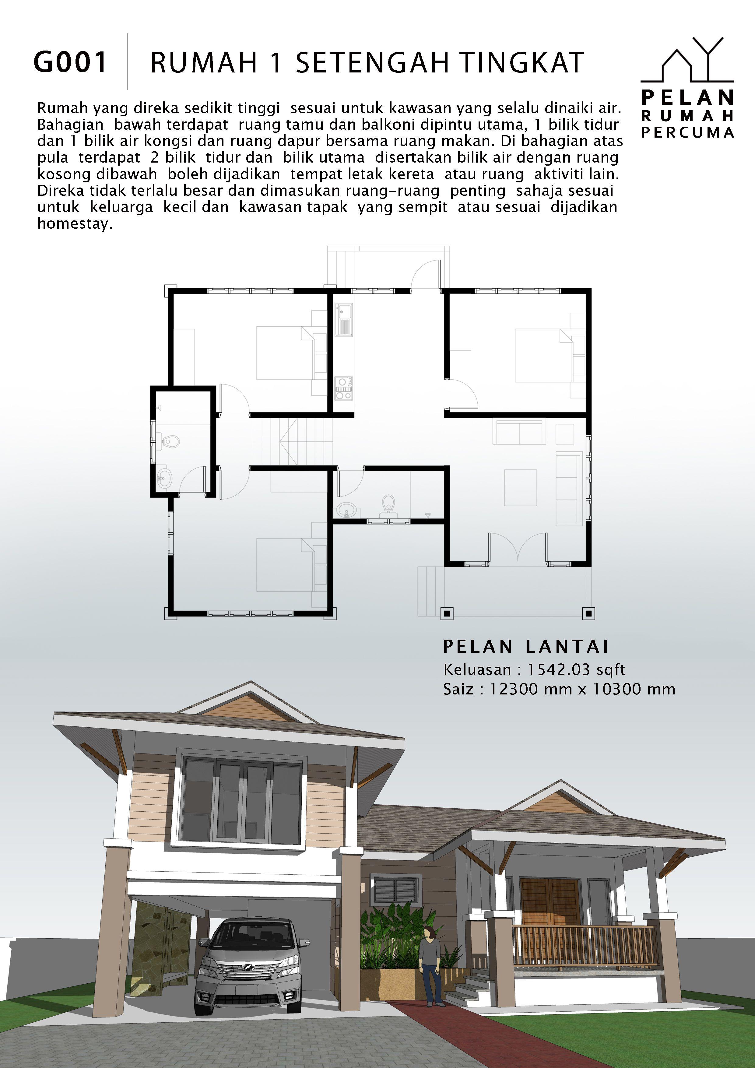 Rumah Tingkat Setengah : rumah, tingkat, setengah, PELAN, RUMAH, PERCUMA, Floor, Plans
