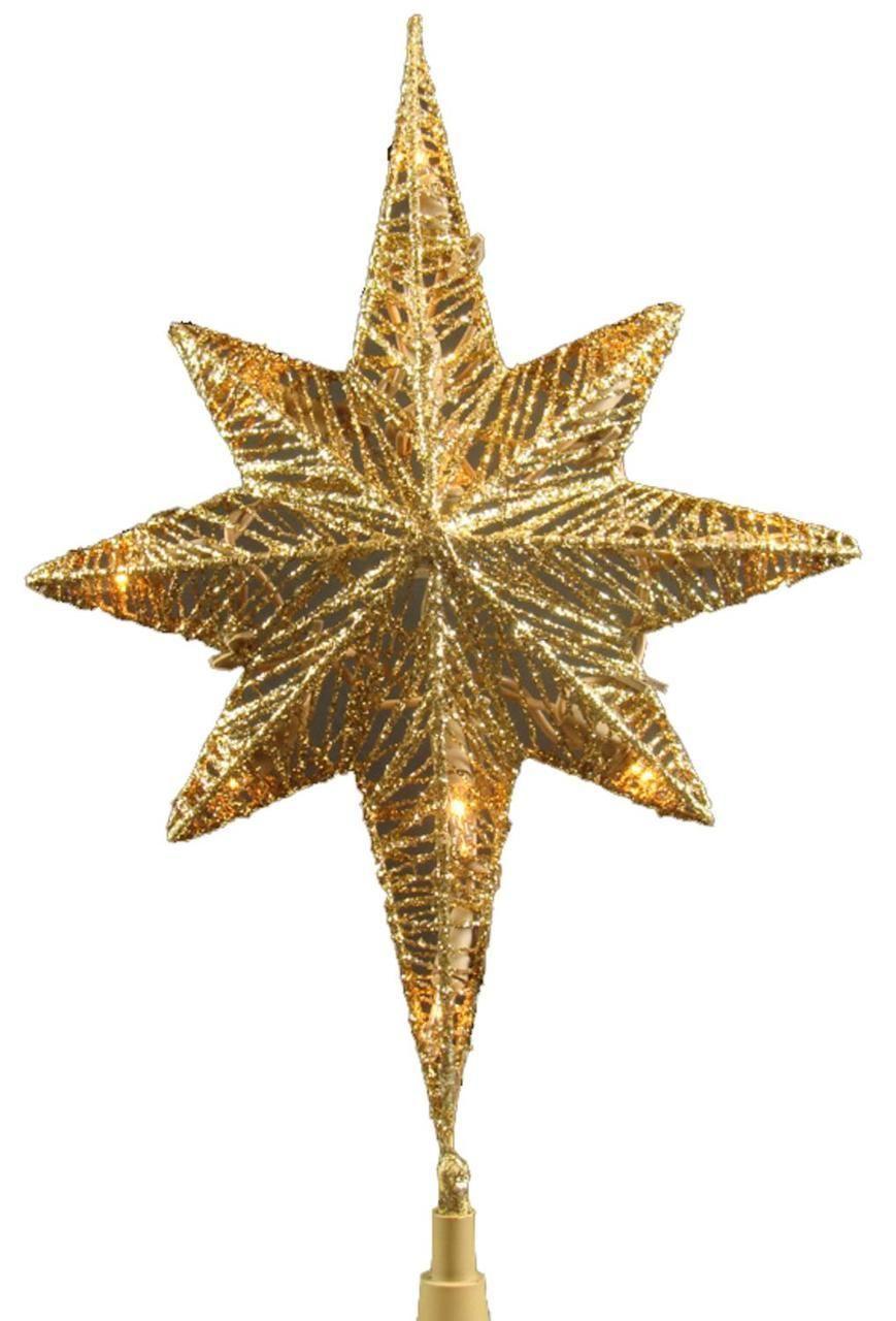 12 lighted gold glitter star of bethlehem christmas tree topper clear lights 14055807