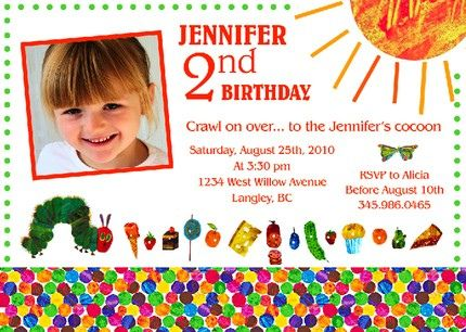 The Very Hungry Caterpillar Eric Carle Custom Birthday Invitation – Eric Carle Birthday Invitations