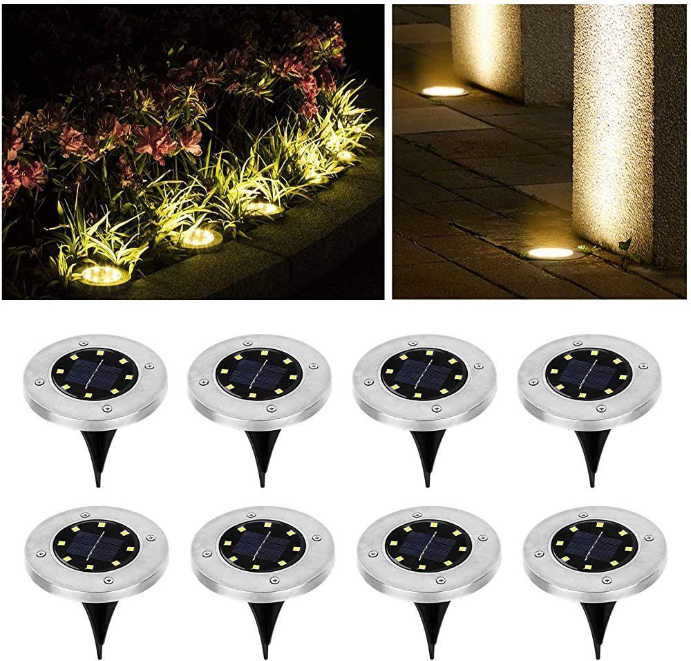 Wilktop Solarleuchten Fur Garten Solarlampe Lampe Solarleuchte Bodenleuchte Warmweiss Mit 8leds Licht Bod Solarleuchten Garten Led Strahler Garten Solarleuchten