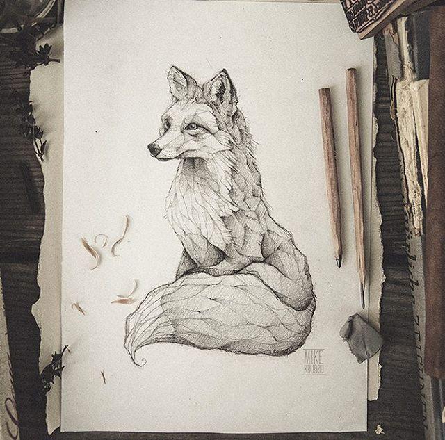 pencil, drawing, illustration, art, retro, vintage, old, fox