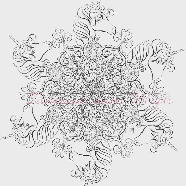 Unicorn Mandala Fantasy Myth Mythical Mystical Legend Coloring Pages Colouring Adult Detailed Advanced Printable Kleuren Voor