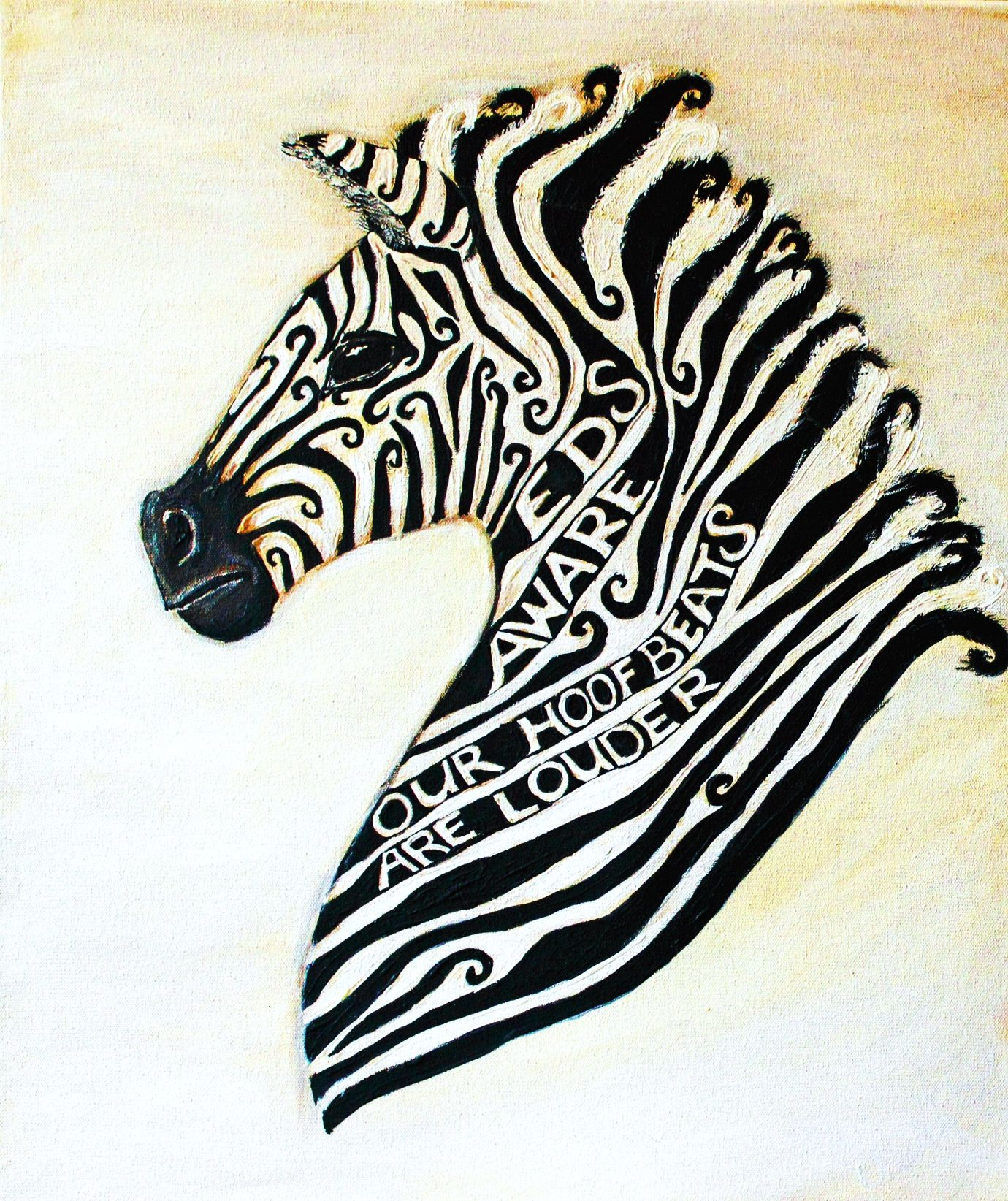 """The Ehlers Danlos Syndrome Zebra - Words """"EDS AWARE Our Hoof Beats Are Louder"""" By Artist Cherish Fletcher Wellness Trees Project  - Original Art and books For ill Children @projecttrees"""