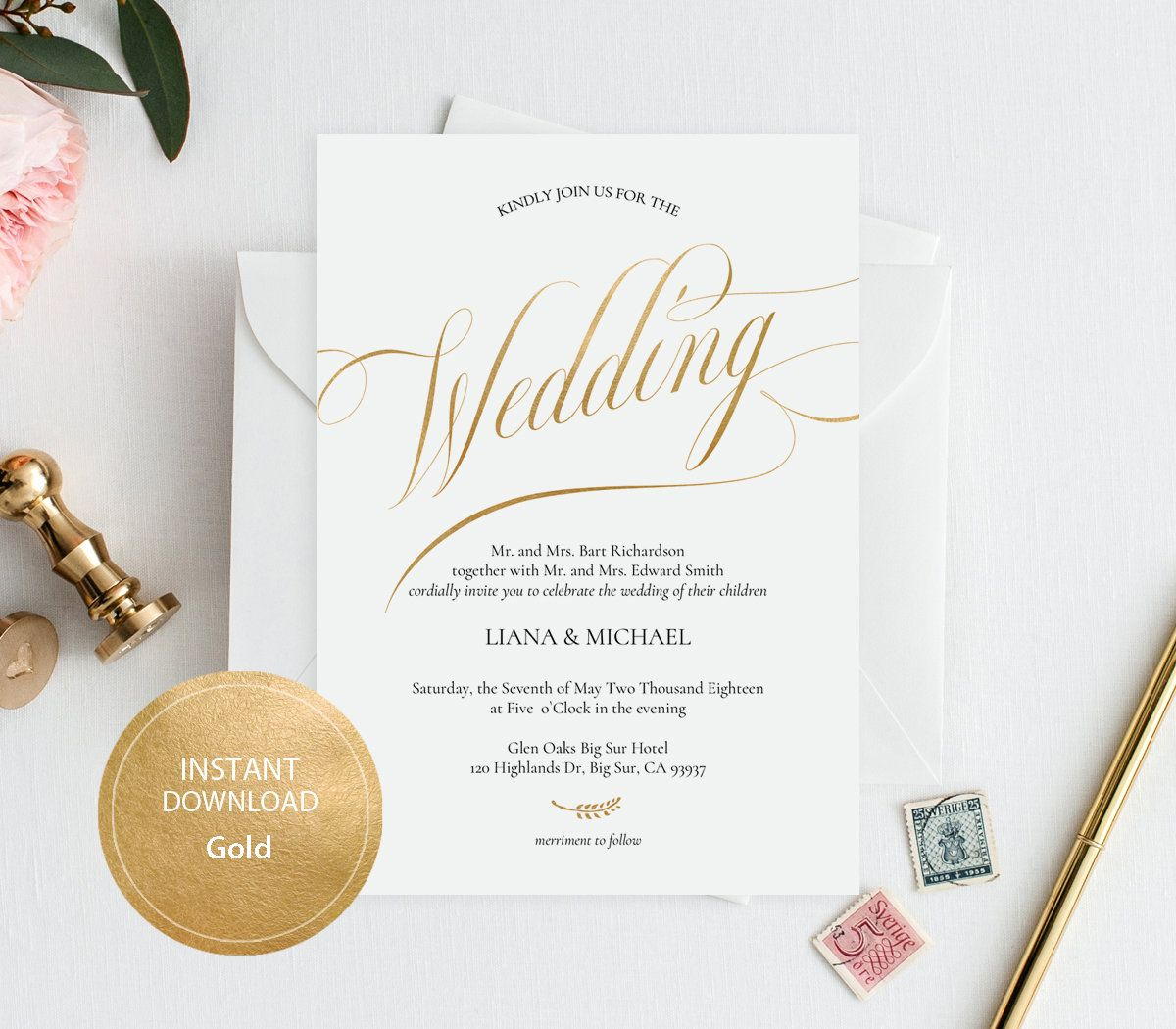 Instant Download Pdf Template 5x7 Invitation Wedding Invitation