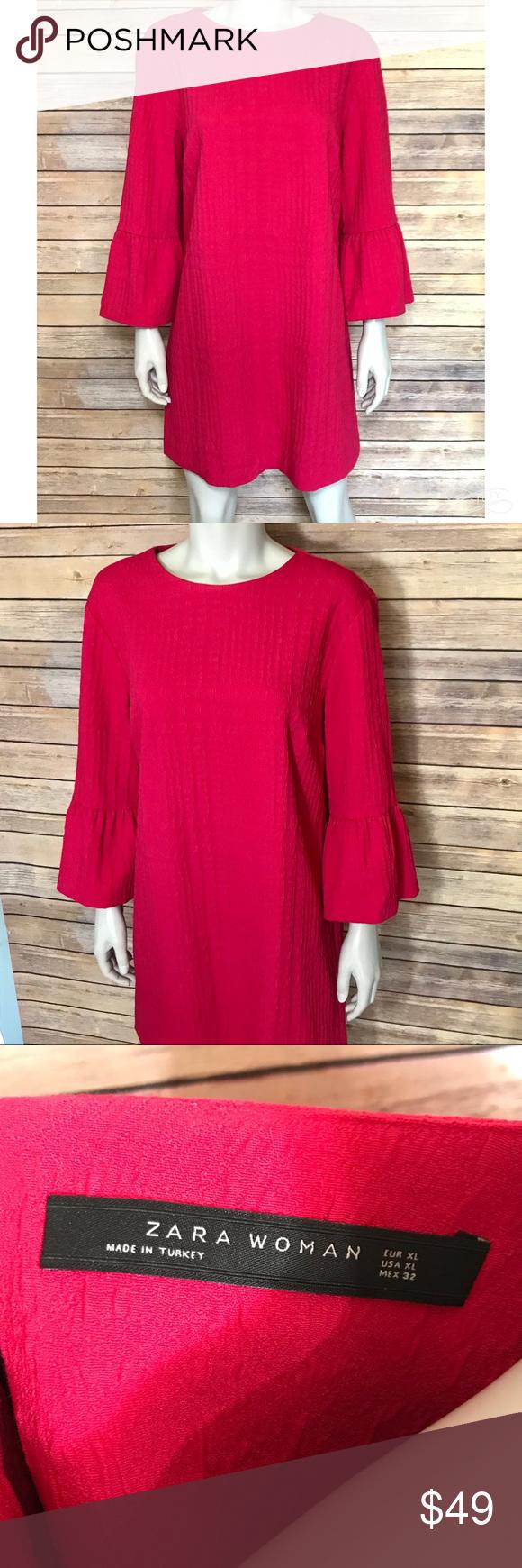 Zara pink long sleeve textured dress bright pink dresses subtle
